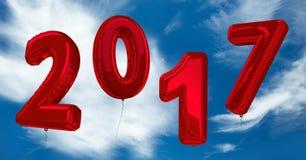 2017 números inflables contra una imagen compuesta 3D de nubes y del cielo Imagen de archivo