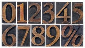 Números isolados no tipo de madeira Foto de Stock Royalty Free