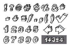 Números a mano y símbolos Foto de archivo libre de regalías