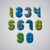 Números modernos geométricos do estilo feitos com quadrados, grupo do vetor Fotos de Stock Royalty Free