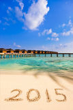 Números 2015 na praia Imagens de Stock Royalty Free