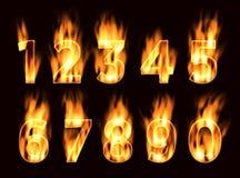 Números no fogo O alfabeto na chama Imagem de Stock