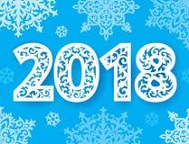 Números novos ornamentado de 2018 anos para o corte do laser com teste padrão dos flocos de neve Documento do entalhe Plástico ou ilustração do vetor