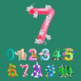 Números ordinales para los niños de enseñanza que cuentan con la capacidad de calcular guardería del alfabeto del ABC de los anim Fotografía de archivo libre de regalías