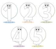 Números para livros de coloração, parte 1 Imagens de Stock