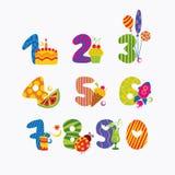 Números a partir de la cero a nueve Foto de archivo libre de regalías