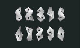 Números poligonales blancos fijados Fuente polivinílica baja abstracta de los números en un fondo negro Foto de archivo libre de regalías