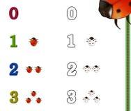 Números que colorean la paginación Fotografía de archivo libre de regalías
