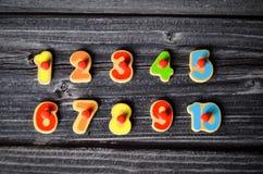 Números que cuentan el preescolar del niño Fotografía de archivo