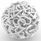Números que forman una esfera aislada Imágenes de archivo libres de regalías