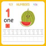 Números que remontan la hoja de trabajo para el preescolar y la guardería Escritura número uno Ejercicios para los niños Juegos d libre illustration