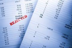 Números rechazados del presupuesto Imagen de archivo libre de regalías