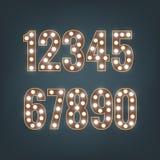 Números retros com ampolas Imagem de Stock Royalty Free