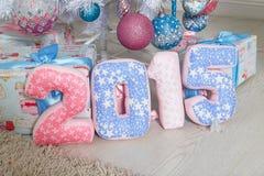 Números rosados y azules 2015 de la materia textil Fotografía de archivo