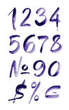 Números roxos escritos mão da aquarela Ilustração do vetor Foto de Stock