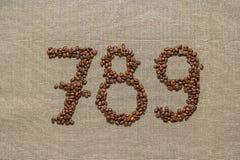 Números siete, ocho, nueve de los granos de café Fotos de archivo libres de regalías