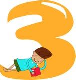 Números três ilustração stock
