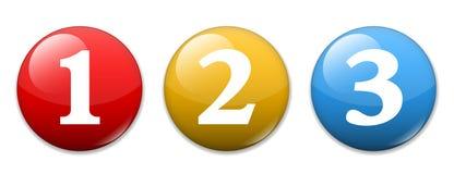 Números uno dos tres Imagen de archivo