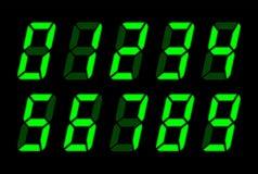 Números verdes de Digitaces para la pantalla electrónica del Lcd stock de ilustración