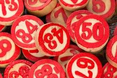Números vermelhos do bingo Fotos de Stock Royalty Free