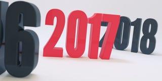 2017 números vermelhos em figuras escuras borradas do fundo de 2016 e de 2018 Ilustração do Vetor