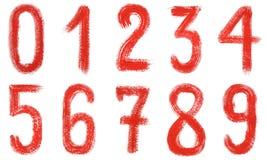 Números vermelhos escritos mão da aquarela 0-9 Isolado em um fundo branco ilustração do vetor