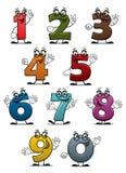 Números y dígitos divertidos de la historieta Fotos de archivo
