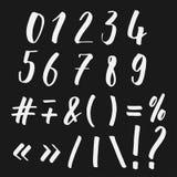 Números y el poner letras de los símbolos Imágenes de archivo libres de regalías