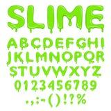 Números y símbolos del alfabeto del limo stock de ilustración