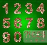 Números y símbolos del pan de jengibre ilustración del vector