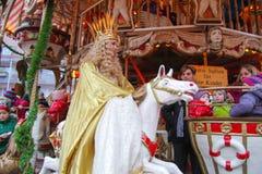 Nürnberg Christkind - Symbol des Weihnachtsmarktes auf dem historischen Karussell Lizenzfreies Stockbild