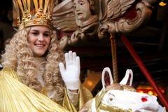 Nürnberg Christkind - Symbol des Weihnachtsmarktes auf dem historischen Karussell Lizenzfreies Stockfoto