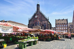 Nürnberg-Kathedrale, Frauenkirche am Hauptmarktplatz Nuermberg, Deutschland Stockbild