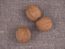 Nüsse auf Leinenhintergrund Lizenzfreie Stockbilder