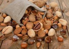 Nüsse in einer Tasche Stockfotografie