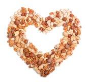 Nüsse in Form des Herzens Stockfotografie