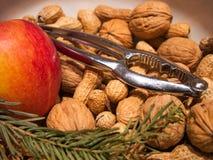 Nüsse mit Apfel und einem Nussknacker hergestellt vom Metall lizenzfreie stockbilder