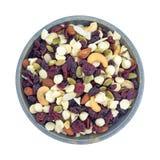 Nüsse und Fruchtspur mischen in einer Draufsicht der Schüssel Lizenzfreie Stockfotografie