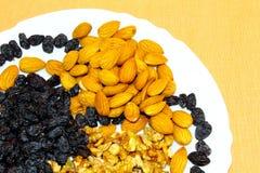 Nüsse und getrocknete Trauben in einer weißen Platte lizenzfreie stockfotos