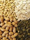 Nüsse und Kürbiskerne stockbild