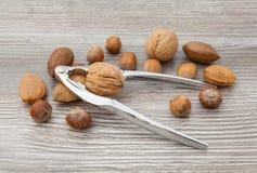 Nüsse und Nussknacker Stockfoto