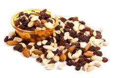 Nüsse und Rosinen Stockfoto