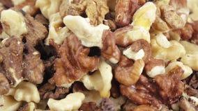 Nüsse von Walnüssen in der Masse stock footage
