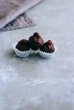 Nützliche rohe Schokoladenbonbons mit Zedernglatten flächen Stockbilder