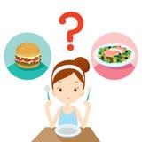 Nützliches und unbrauchbares Lebensmittel, Frage für das Mädchen, das beschließt zu essen Stockfotos