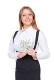 Nęcący kobiety mienia amerykanina dolary Zdjęcie Royalty Free