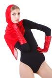 nęcący piękny blond dziewczyny czerwieni szalik Zdjęcie Royalty Free