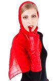 nęcący piękny dziewczyny czerwieni szalik Zdjęcie Stock