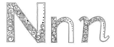 N万代兰属徒手画的铅笔剪影字体 库存照片