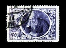 N画象  Zhukovsky, 100年诞生周年, 1947年 免版税库存照片
